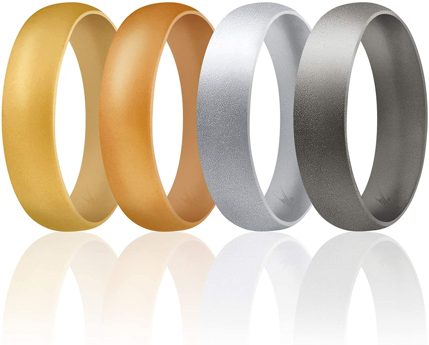 ROQ Silicone Rings for Men and Women Sizes 3.5-16, 6mm Silicone Rubber Wedding Ring Band