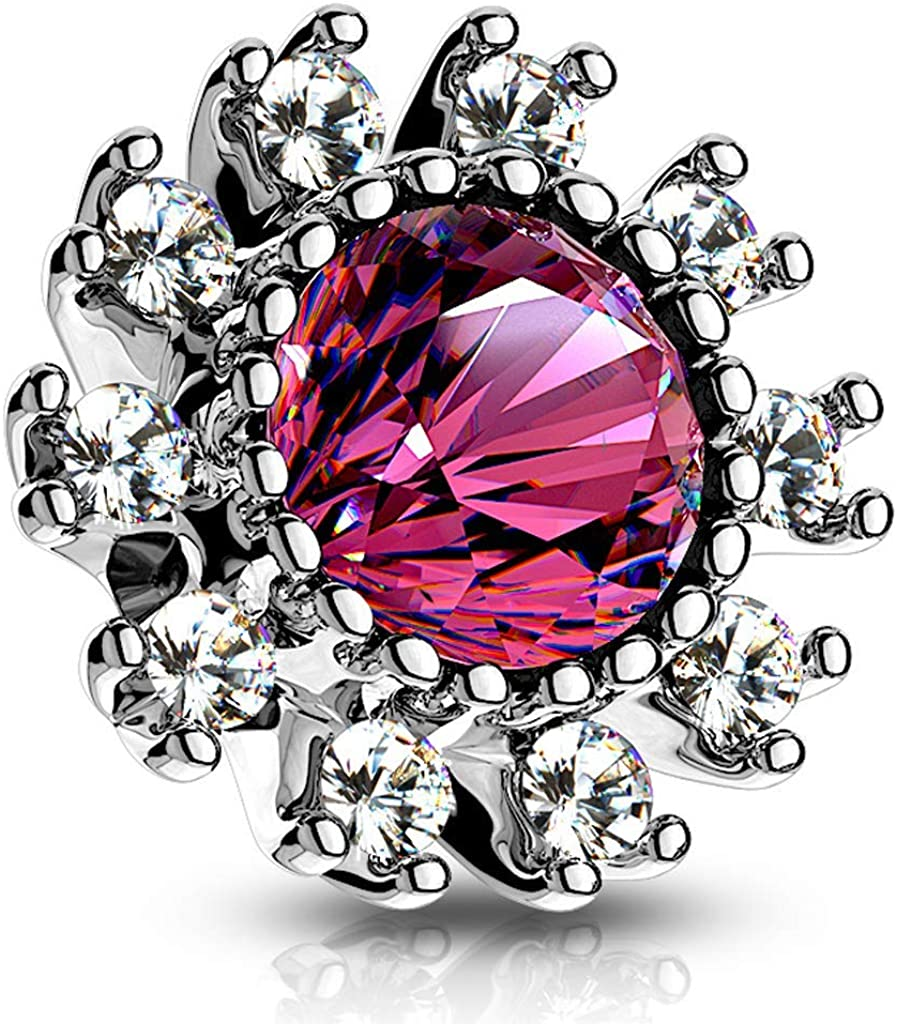 Covet Jewelry CZ Surround Double Tiered Round CZ Centered Internal Threaded Dermal Anchor Tops