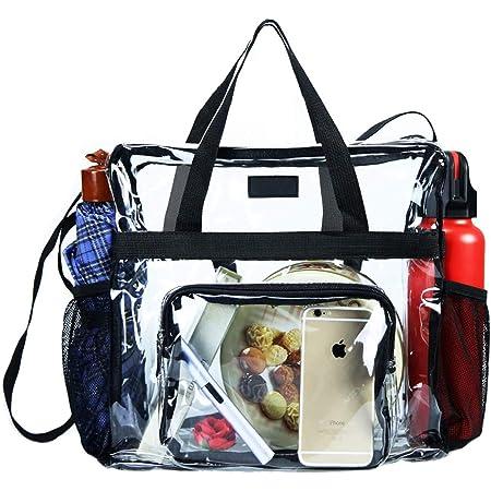 Clear Bag Stadium Approved, transparente Einkaufstasche und Clear Bag für das Fitnessstudio, für Arbeit, Sportspiele und Konzerte - 30 x 30 x 15cm (schwarz)