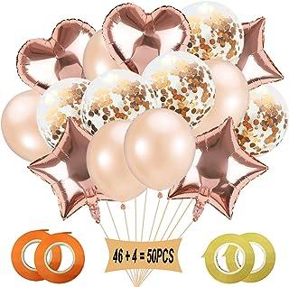 Gxhong Globos de Champagne Gold Globos de confeti, Globo de aluminio Globo de corazón Globo de estrella Globos de helio Globos de boda para cumpleaños, decoración de bodas, decoración de fiesta