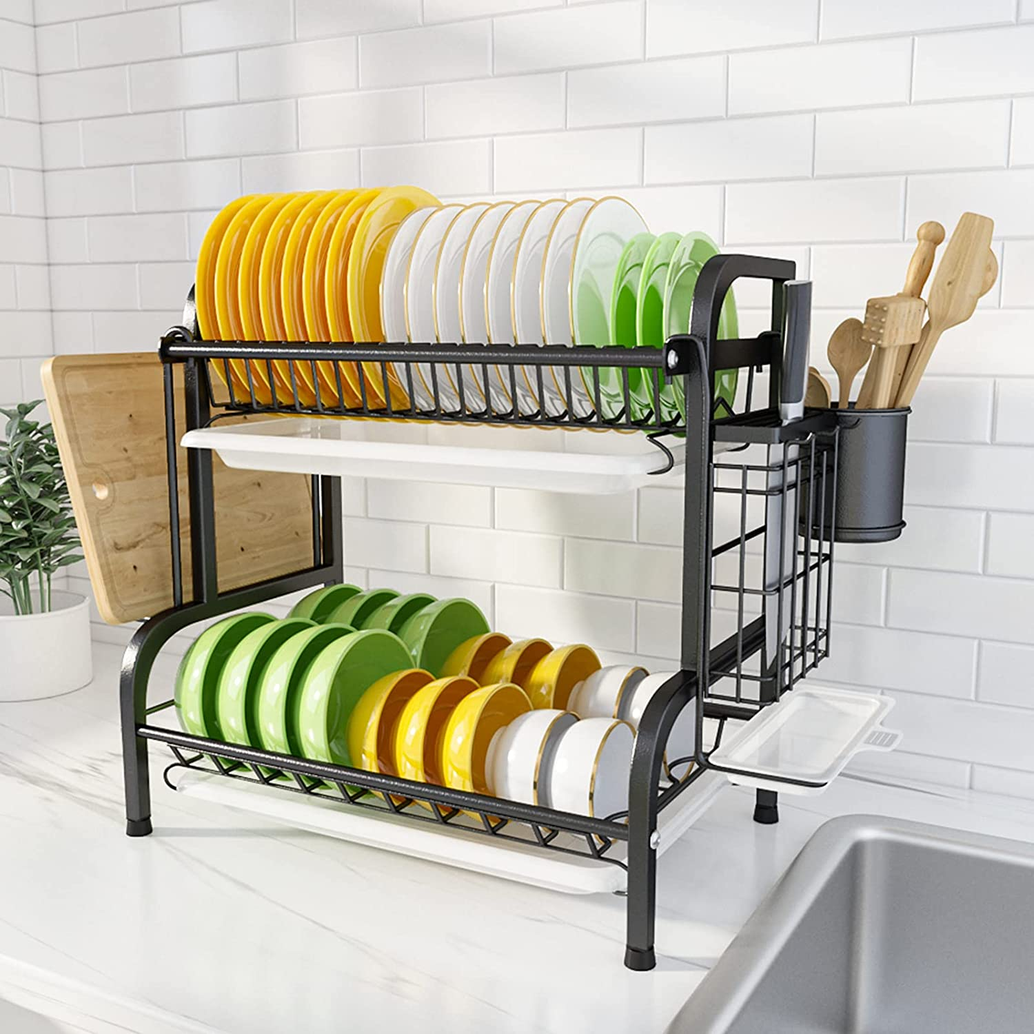 Buy Dish Drying Rack 2 Tier Stainless Steel Dish Drainer Rack For Kitchen Counter With Removable Drainboard And Cup Utensil Holder By Steelgear Sgdr02b Online In Vietnam B08vj8mc8s