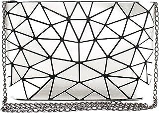 LA HAUTE Pochette geometrica luminosa in pelle Pu olografica Borsa a tracolla con catena laser