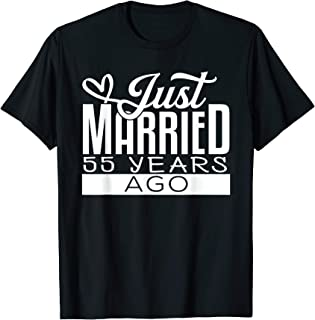 Just Married 55 Years Ago 55th Wedding Anniversary Funny T-Shirt