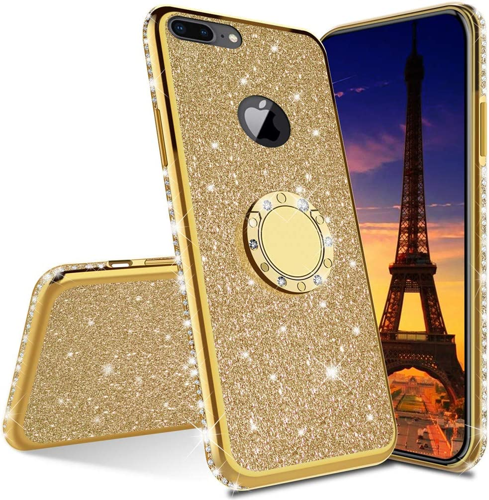 ISADENSER for iPhone 6 Case iPhone 6S Case Ultra-Slim Glitter Bling Diamond Luxury Plating Silicon TPU Soft Cover with Ring Stand Holder for iPhone 6S / iPhone 6,Gold TPU with Stand Holder