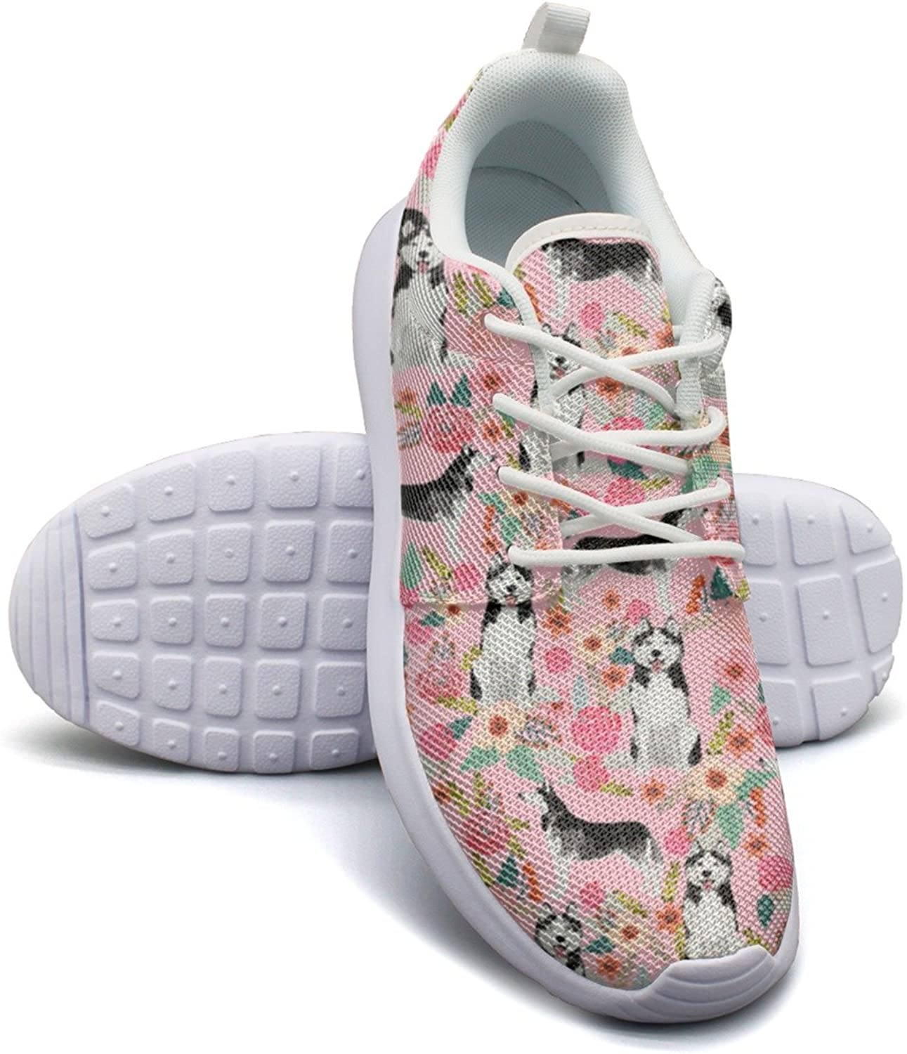 Eoyles gy Cute Husky Dog Pink Floral Pretty Women Slip Resistant Lightweight Running Sports shoes