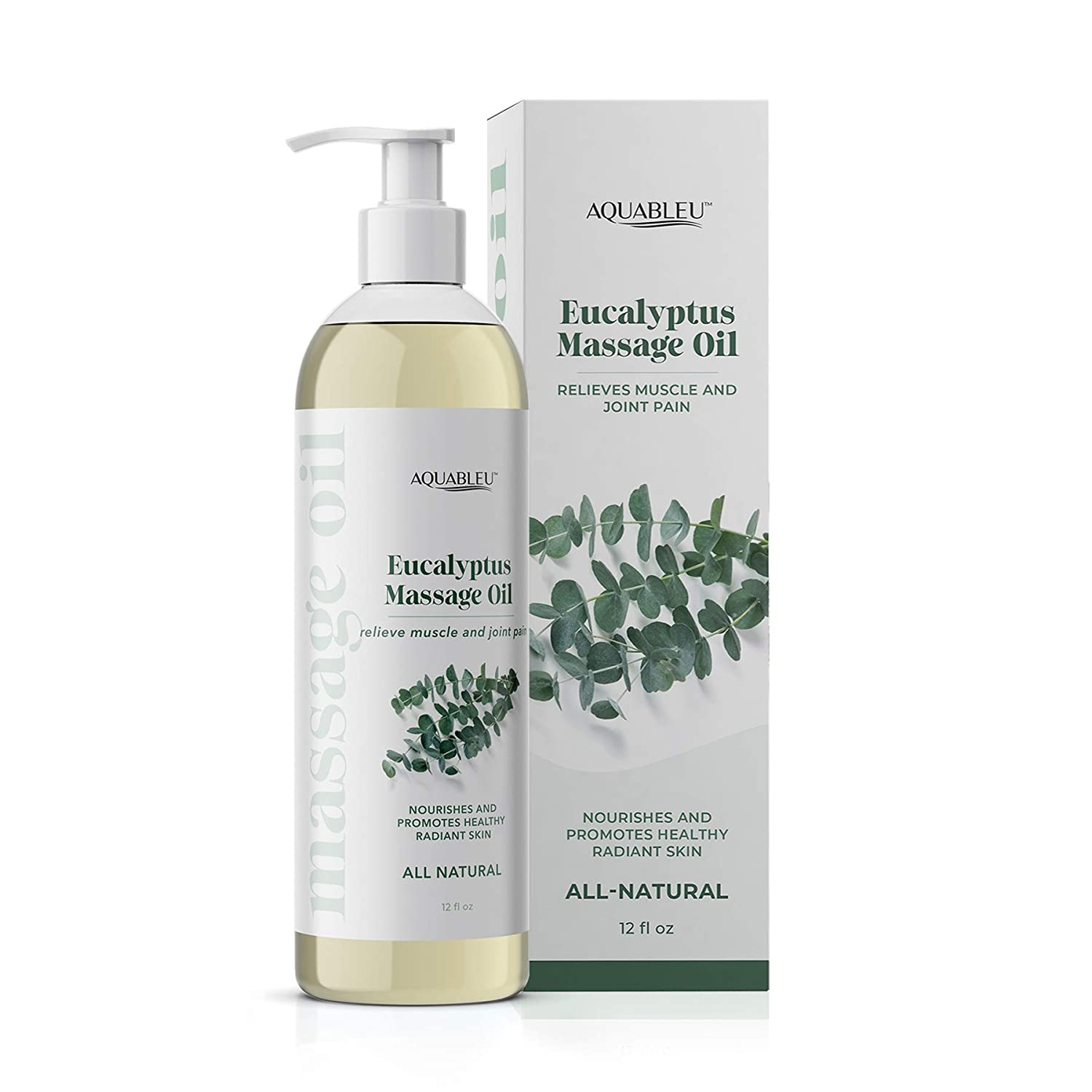 Aquableu's Eucalyptus Massage Oil –Natural at Home Massage Therapy, Soothes Irritated Skin and Muscle Pain, Promotes Mental Clarity – for Men and Women 12oz