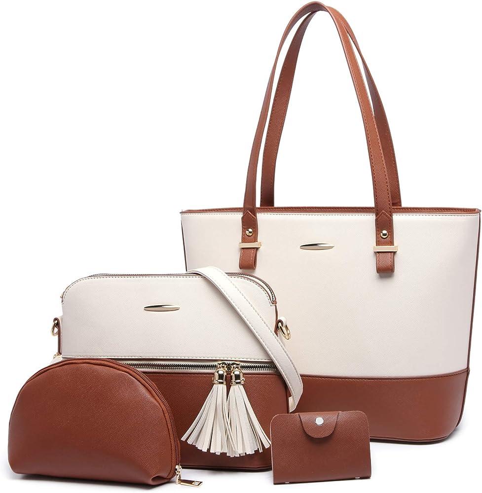 yeumoug, borsa a spalla/tracolla da donna, con acessori, set da 4 pezzi, bianco/marrone, in ecopelle