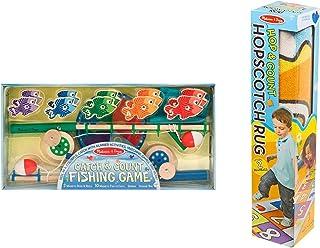 Melissa & Doug Hop & Count Hopscotch Rug & Magnetic Fishing Game Bundle Toy