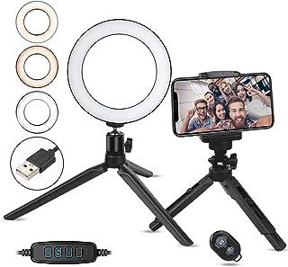 Zacro 6 Pulgadas LED Anillo de Luz Trípode y Soporte para Teléfono 3 Modos de Luz y 10 Niveles de Brillo Soporte para Selfie Ring Light LED para Transmisión en Vivo Movil Selfie
