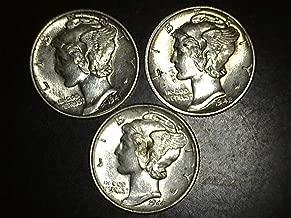 1941 1942 1944 Mercury Dimes - Set of 3 Coins - 10c AU/BU US Mint