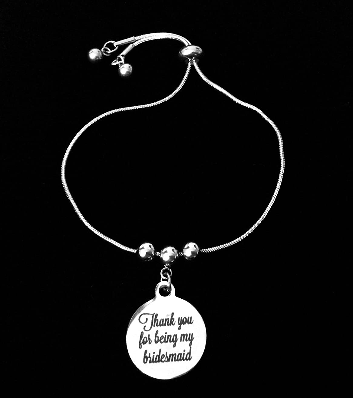 Thank You for Being My Bridesmaid Bolo Bracelet Stainless Steel Adjustable Bracelet Slider Chain One Size Fits All Gift Wedding Party