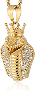 HZMAN 18k Gold Plated Cz Inlay Egypt Cobra King Stainless Steel Pendant Necklace Hip Hop 24 Inches Chain