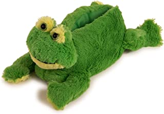 Image of Fuzzy Green Frog Slippers for Women