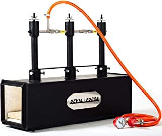 GAS PROPANE FORGE - DFPROF3 | with 3 DFP (80,000 BTU) Burners | Knifemaking Farrier Blacksmith | Burners with gas ball val...