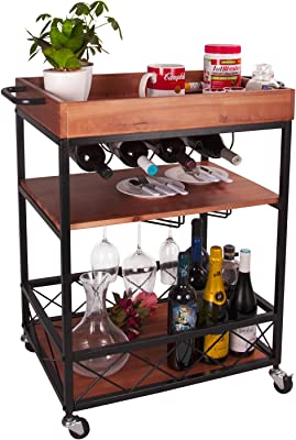 Industrial Rustic Style Kitchen Serving Cart with Storage,Three-Layer Board and Metal Frame Kerrogee Mobile Dining Bar Cart Wine Table for Home with Glass Holder
