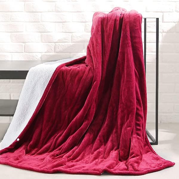 MaxKare 电热毯加热投掷法兰绒夏尔巴人可逆快速加热毯 50X60 ETL 认证 3 加热水平 4 小时自动关闭家庭办公使用可机洗