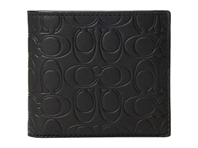 COACH Double Billfold in Embossed Signature Leather (Black) Bill-fold Wallet