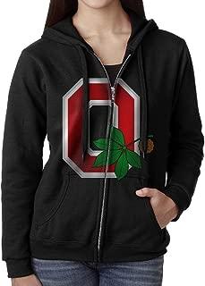 SoSoily Hoodie Sweatshirt Women's Ohio State University Long Sleeve Zip-up Hooded Sweatshirt Jacket