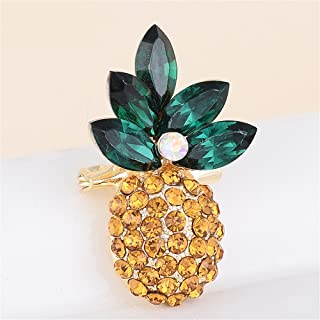 Reizteko Gold Tone Ombre Colored Rhinestone Tropical Pineapple Fruit Brooch Pin (Yellow)