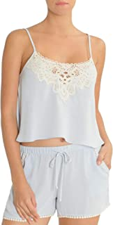 Womens Cropped Cami Set (Blue, Large)