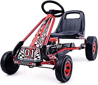 COSTWAY Go Kart Racing para Niños Coche de Pedal Asiento Ajustable con Ruedas de Goma Embrague y Freno Infantil Juguete (Rojo)