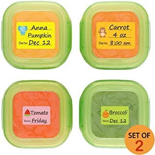 Baby Food Labels, Removable Write-On Date Labels for Baby Bottle, Food Storage Container, Freezer Tray & Reusable Pouch, Great for Daycare, Pack of 180