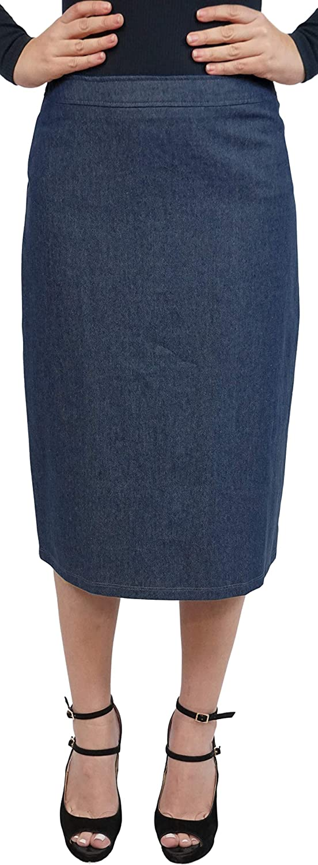 BABY O Women's Modest Basic Midi Casual Below The Knee Denim Jeans Straight Skirt