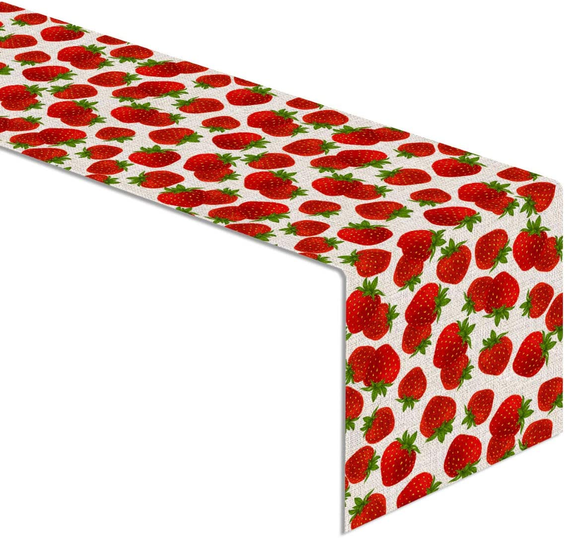 Linen Strawberry Table Runner Summer Sweet Berry Birthday Party Baby Shower Home Dinning Room Decoration