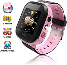 Smart Watches, Watches for Kids with GPS, Children Tracker Watches Feature Real Time Positioning/SOS Emergency Alarm/Voice Messages, Kids Wrist Watches, The Best Birthday Gifts Ever(Pink)