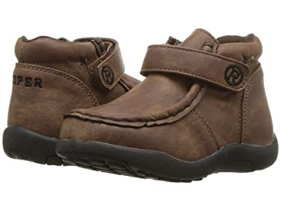Roper Kids Moc (Toddler) (Brown Faux Leather) Boys Shoes