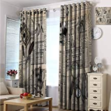 hengshu Clock Wear-Resistant Color Curtain Antique Accessories Design Old Fashion Magazine Sewing and Writing Tools Print 2 Panel Sets W84 x L108 Inch Beige and Black