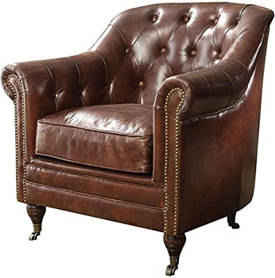 ACME Aberdeen Chair - - Vintage Dark Brown Top Grain Leather
