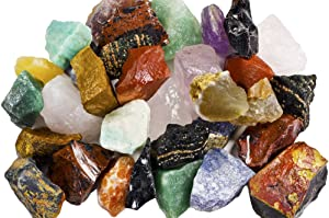 "3 lbs of a Bulk Rough SOUTH AMERICAN Stone Mix - A Beautiful Stone Mix - Large 1"" Natural Raw Stones & Fountain Rocks for Tumbling, Cabbing, Polishing, Wire Wrapping, Wicca & Reiki Crystal Healing"