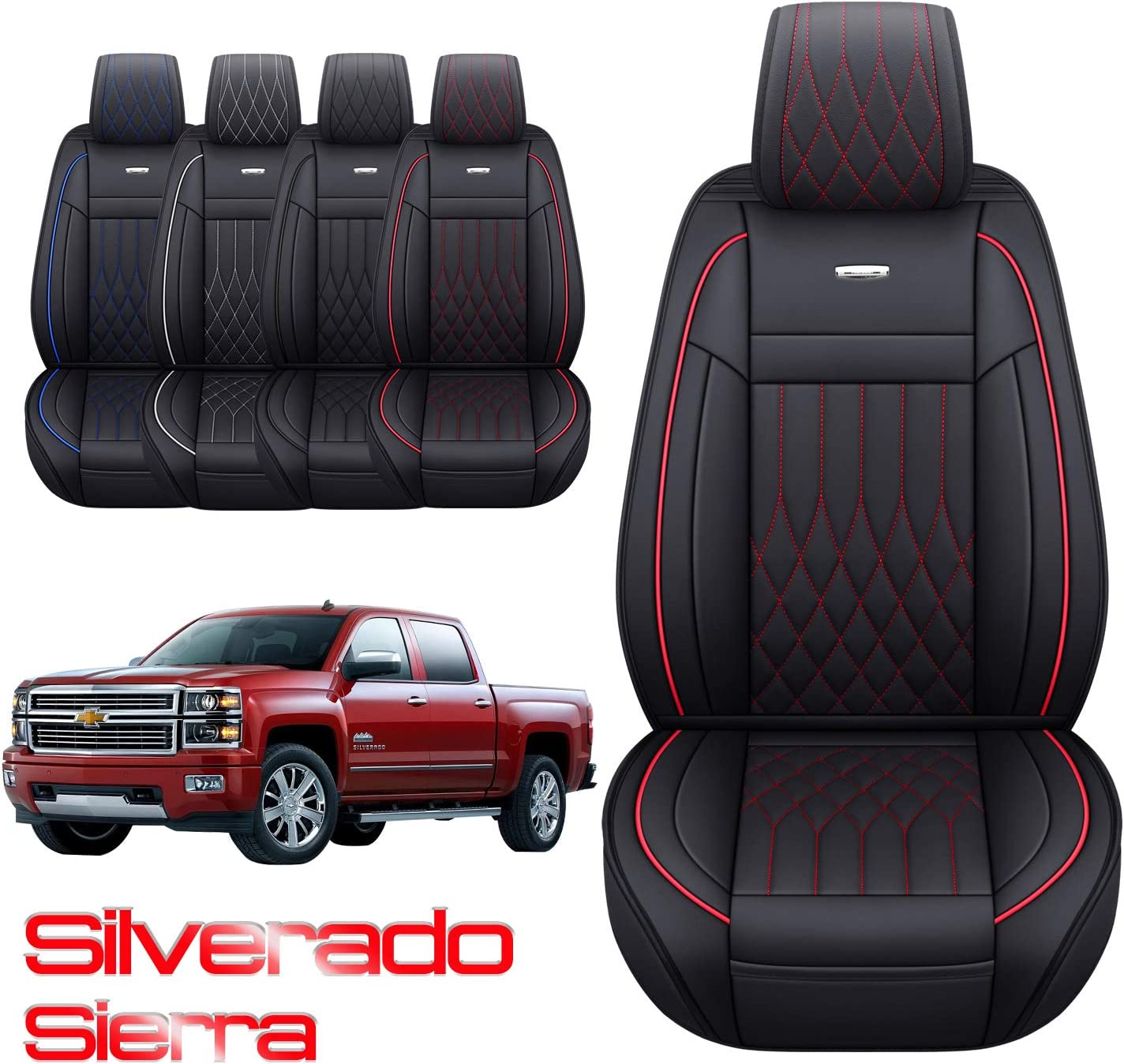 Aierxuan Silverado Sierra Car Seat Covers Front Set with Waterproof Leather Black and Red 3500 HD Crew,Double,Extended Cab or Pick-up Truck Fit for 2007-2020 1500//2500 HD