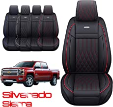 Car Seat Covers for Chevrolet Sonic Camaro Trailblazer Sail Aveo Silverado Luxury All Weather Protection Leatherette Car Front and Rear Seat Protector Airbag Compatible Black