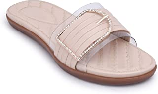 FootStreet Women and Girls Ankle Strap Fashion Slip on Slippers
