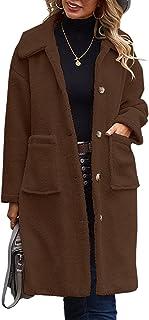 معطف حريمي من Angashion من الصوف الطري ومفتوح من الأمام سترة طويلة معطف فرو صناعي دافئ شتوي