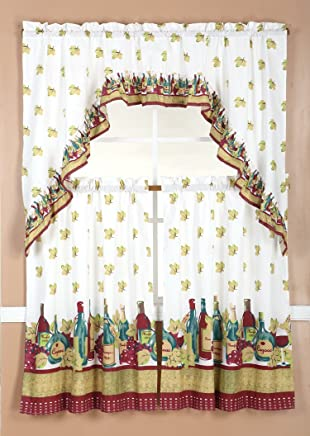 Laundry Bath Bedroom Taupe Small Window Curtain for Cafe Home Maison Xabi Floral Print Linen Textured Kitchen Tier /& Valance Set