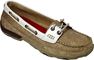 Twisted X Womens Driving Moccasins, Dusty Tan/White, Size 6.5