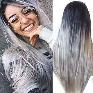 ATAYOU-WIG 2 tonos de variación de color longitud media larga sintéticas pelucas mujer (Negro gris degradado)