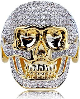 Gioielli Moca Iced out personalità Retro Skull Prepotente Anello Placcato in Oro 18k Bling CZ Anello con Diamante Simulato...