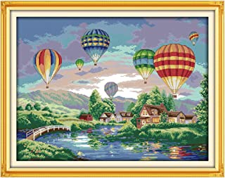 cici store DIY Counted Cross Stitch Kits for Beginners-Hot Air Balloon (60×47CM),Handmade 14CT Printed Embroidery Kit Needlework Crafts