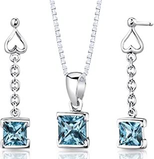 Peora Swiss Blue Topaz Pendant Necklace and Earrings Jewelry Set in Sterling Silver, Princess Cut, 1.00 Carat total, with 18 inch Chain