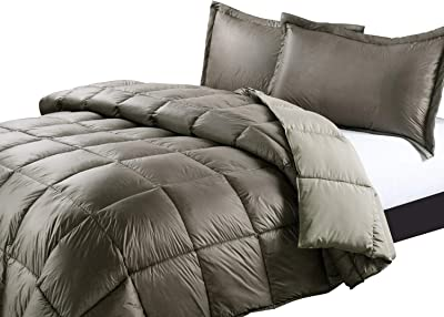 PUFF High Loft Down Indoor/Outdoor Water Resistant Comforter with Extra Strong Nylon Cover, King, Taupe