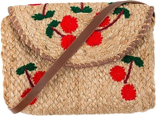 Floral Embroidered Jute Tan Sling Bag