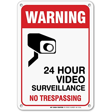 Vertical Metal Sign Multiple Sizes No Trespassing Monitored by Video Camera