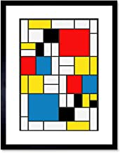 MONDRIAN ABSTRACT CUBES SQUARES OLD MASTER FRAMED ART PRINT MOUNT B12X1785