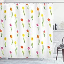 Ambesonne Watercolor Flower Shower Curtain, Colorful Tulips Pattern Country Style Floral Design Watercolor Effect Art, Cloth Fabric Bathroom Decor Set with Hooks, 70 Long, White Green