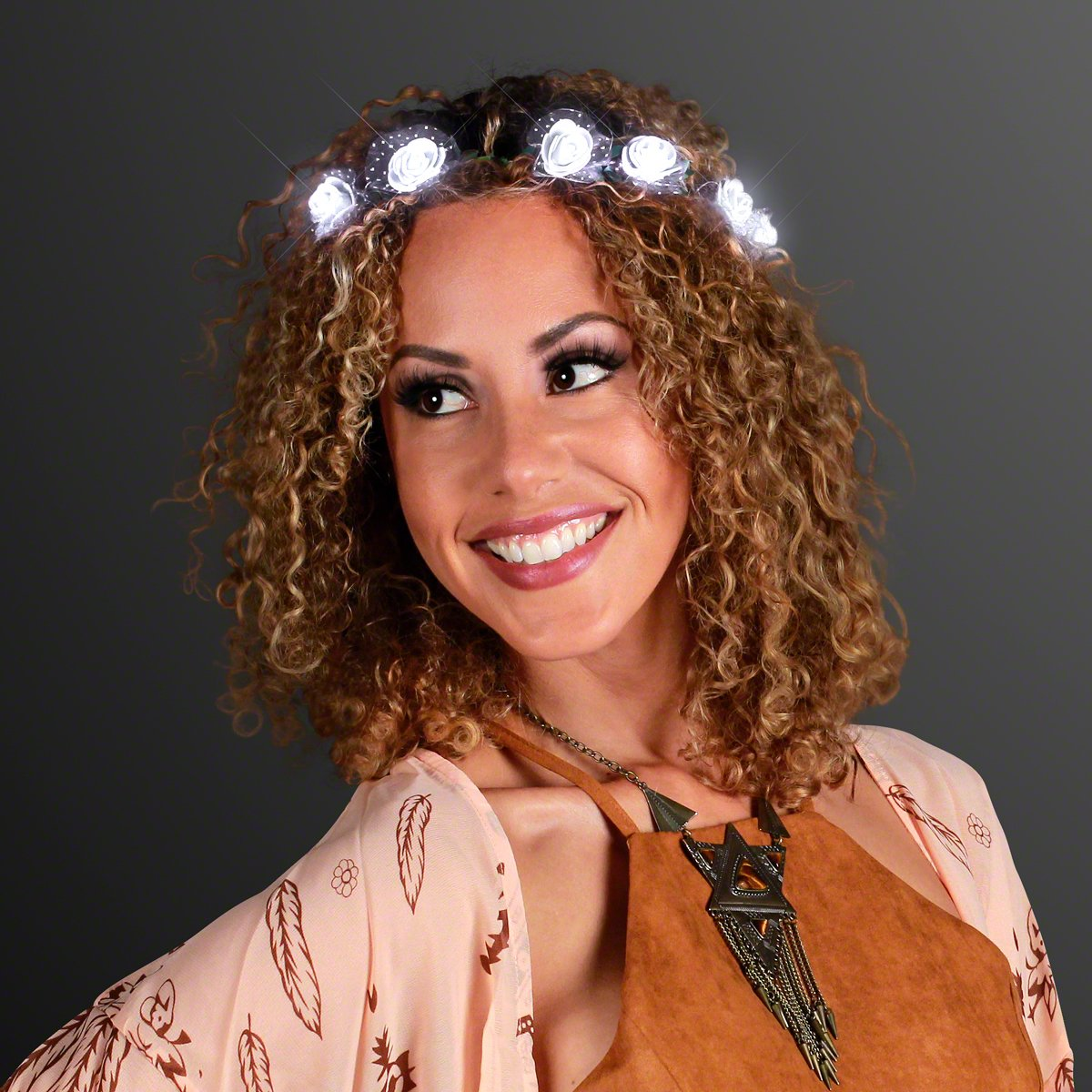 Indianapolis Mall White Light Up Rosebud Fashion Flower Headband Lights Crown with LED