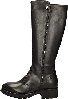 NeroGiardini I014095D Sauvage Nero Stivali per Donna in Pelle con Lampo ed Elastici